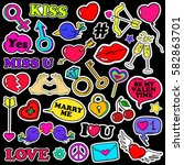 colorful funny set of love... | Shutterstock .eps vector #582863701