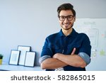 happy website designer ... | Shutterstock . vector #582865015
