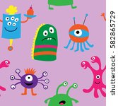 seamless pattern of a monsters... | Shutterstock .eps vector #582865729