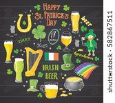 st patrick's day hand drawn... | Shutterstock .eps vector #582867511