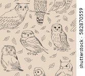 seamless texture of a cute owls ... | Shutterstock .eps vector #582870559