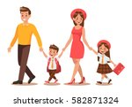 family lifestyle. parents take... | Shutterstock .eps vector #582871324
