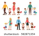 family lifestyle. parents take... | Shutterstock .eps vector #582871354