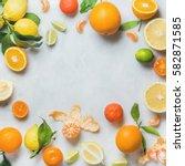 variety of fresh citrus fruit... | Shutterstock . vector #582871585