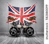 drum set is in a room with... | Shutterstock . vector #582880099