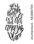 vector poster with sweet quote. ... | Shutterstock .eps vector #582880705