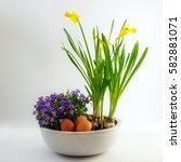 potted spring flowers and eggs... | Shutterstock . vector #582881071