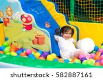 little cute girl playing in the ... | Shutterstock . vector #582887161