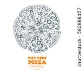 italian pizza hand drawn vector ... | Shutterstock .eps vector #582888157