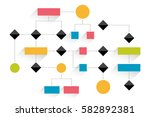 big flowchart. geometric scheme.... | Shutterstock .eps vector #582892381