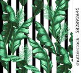 banana leaves pattern | Shutterstock .eps vector #582892645