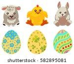 set of vector easter eggs... | Shutterstock .eps vector #582895081