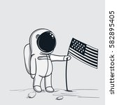 astronaut sets american flag on ... | Shutterstock .eps vector #582895405