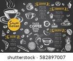 coffee restaurant brochure... | Shutterstock .eps vector #582897007