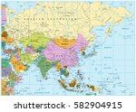 asia political map with roads... | Shutterstock .eps vector #582904915