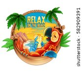 relax on the beach | Shutterstock .eps vector #582909391