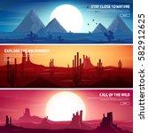 desert trip. extreme tourism... | Shutterstock .eps vector #582912625