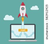 successful startup business... | Shutterstock .eps vector #582912925