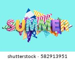 summer   bright colored... | Shutterstock .eps vector #582913951