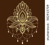 henna tattoo flower template in ...   Shutterstock .eps vector #582915709