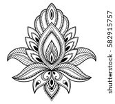 mehndi lotus flower pattern for ... | Shutterstock .eps vector #582915757