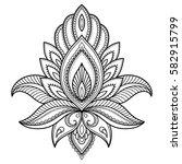 henna tattoo flower template in ... | Shutterstock .eps vector #582915799
