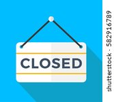 closed doors sign  vector... | Shutterstock .eps vector #582916789