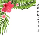 exotic tropical border frame... | Shutterstock .eps vector #582917824