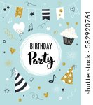 birthday party invitation... | Shutterstock .eps vector #582920761