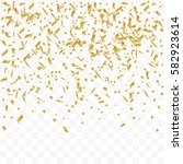 golden confetti falling on... | Shutterstock .eps vector #582923614