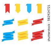 ribbons in flat style. flat... | Shutterstock .eps vector #582924721