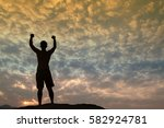 positive male holding hand up... | Shutterstock . vector #582924781