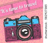 it s time to travel art... | Shutterstock .eps vector #582927385