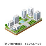 isometric urban set of the city ... | Shutterstock .eps vector #582927439