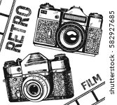 retro vintage photo camera film.... | Shutterstock .eps vector #582927685