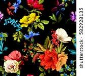flowers. poppy  wild roses ... | Shutterstock .eps vector #582928135