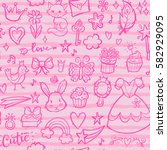 seamless pattern with hand... | Shutterstock .eps vector #582929095