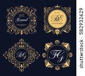 gold decorative frame. vector... | Shutterstock .eps vector #582932629