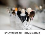 a set of brushes for make up is ... | Shutterstock . vector #582933835