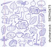 autumn doodles icon notebook... | Shutterstock .eps vector #582943675