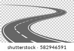 curved road with white markings.... | Shutterstock .eps vector #582946591