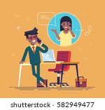 confident african american... | Shutterstock .eps vector #582949477