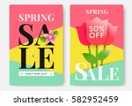 spring sale poster design with... | Shutterstock .eps vector #582952459