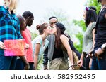 mixed group of young people ...   Shutterstock . vector #582952495