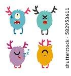 emoji monsters. cute cyclops... | Shutterstock .eps vector #582953611