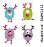 emoji monsters. cute cyclops... | Shutterstock .eps vector #582953635