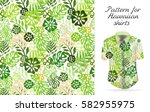 tropical aloha pattern. ... | Shutterstock . vector #582955975