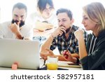 group of sales managers is... | Shutterstock . vector #582957181