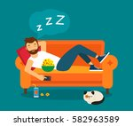 young man fell asleep on the... | Shutterstock .eps vector #582963589