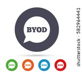 byod sign icon. bring your own... | Shutterstock .eps vector #582964441